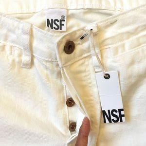 NWT NSF white high waist button fly raw edge jeans